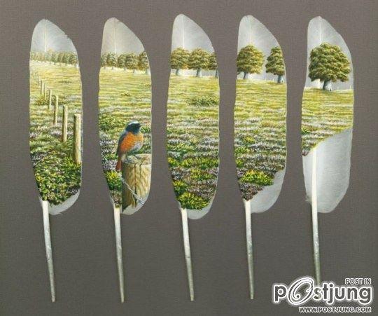 ศิลปะขนนก เพนท์ลาย ขนนก งานศิลป์สุดอาร์ต