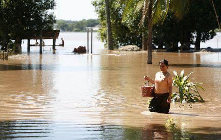 น้ำท่วมที่แขวงอุดมไชย ประเทศลาว
