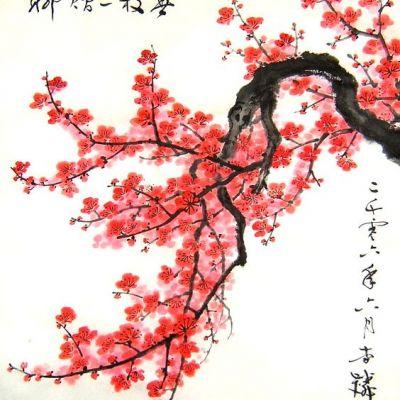 ความยิ่งใหญ่ ของศิลปะจีน/ญี่ปุ่น/  การเขียนภาพ   ดอกบ๊วย (ดอกเหมย) VS ดอกท้อ (ดอกพีช) VS ดอกซากุระ