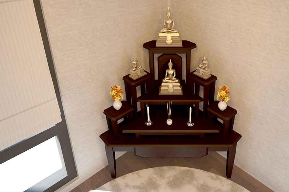 โต๊ะหมู่บูชาแบบจัดวางเข้ามุมของห้อง