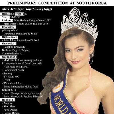 ประวัติน้องท๊อฟฟี่  อาทิตยา ตะพาบน้ำ  Miss world beauty queen thailand 2018