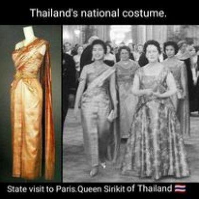 Sbai Thai dress: Thailand's national outfit.งามสมบรมราชินีนาถ