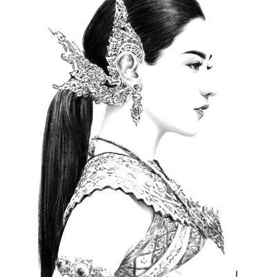 Thai Lady สาวงามในชุดไทย - digital paint | THAILAND 🇹🇭