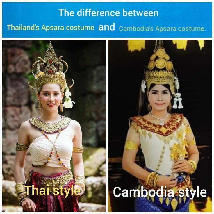 The difference between  Thailand's Apsara costume and Cambodia's Apsara costume.