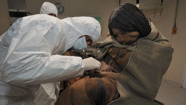 Drugs, alcohol found in sacrificed Inca children: Drugs alcohol mummy inca sacrificed children: Incan child's body is examined by researchers at the Museum of High Altitude Archaeology.
